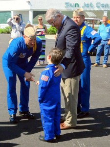 Blue Angel #1, Commander Don Bosch, meets an aspiring Blue Angel and his father, County Commissioner Tim Zorc.