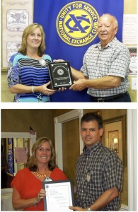 Top: Jenny Fredericks accepts the 501Cap Award. Bottom: Aaron Bowels presents Jenny with  the 2011 Distinguished Club Secretary Award.