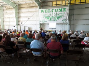 Vero Beach Air Show Volunteers gathered for training sessions at the Sun Jet Center hangar.