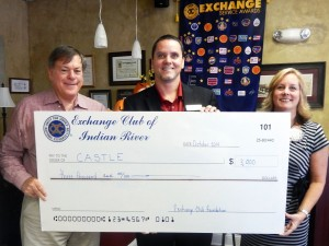 We presented Chris Robertson. Development Director, CASTLE with a check for $3,000.