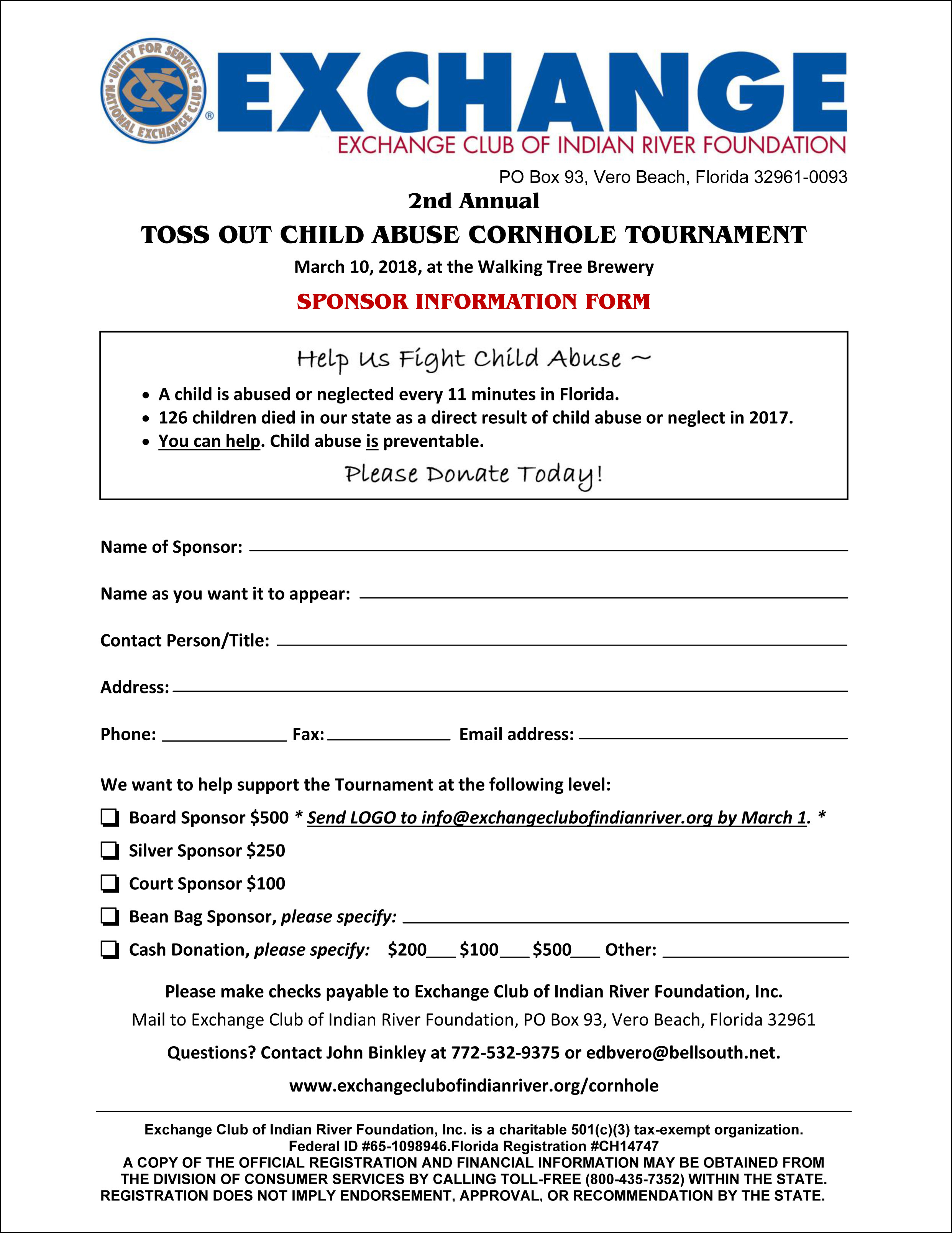 Sponsor Form | Exchange Club of Indian River